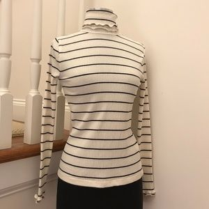 J. Crew Striped Turtle Neck Fitted Shirt XXS